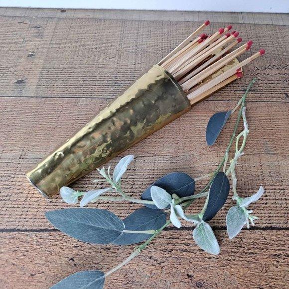 Vintage Brass Wall Hanging Matchstick Holder Plant